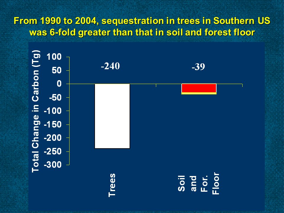 From 1990 to 2004, sequestration in trees in Southern US was 6-fold greater than that in soil and forest floor
