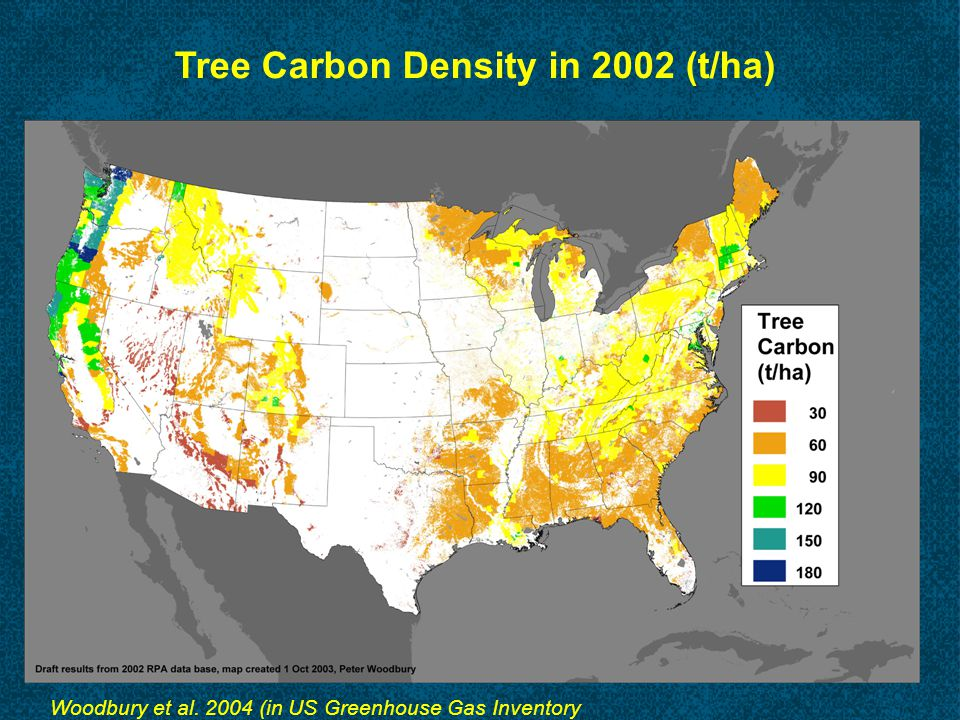 Tree Carbon Density in 2002 (t/ha) Woodbury et al. 2004 (in US Greenhouse Gas Inventory