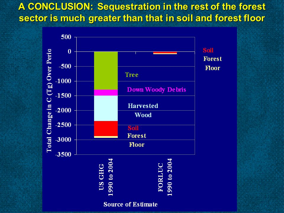 A CONCLUSION: Sequestration in the rest of the forest sector is much greater than that in soil and forest floor