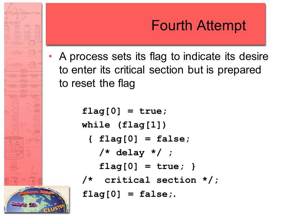 Fourth Attempt A process sets its flag to indicate its desire to enter its critical section but is prepared to reset the flag flag[0] = true; while (flag[1]) { flag[0] = false; /* delay */ ; flag[0] = true; } /* critical section */; flag[0] = false;.
