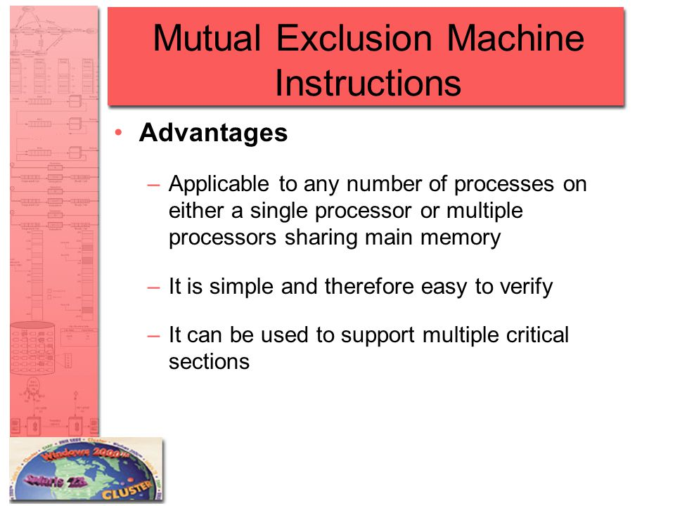 Mutual Exclusion Machine Instructions Advantages –Applicable to any number of processes on either a single processor or multiple processors sharing main memory –It is simple and therefore easy to verify –It can be used to support multiple critical sections