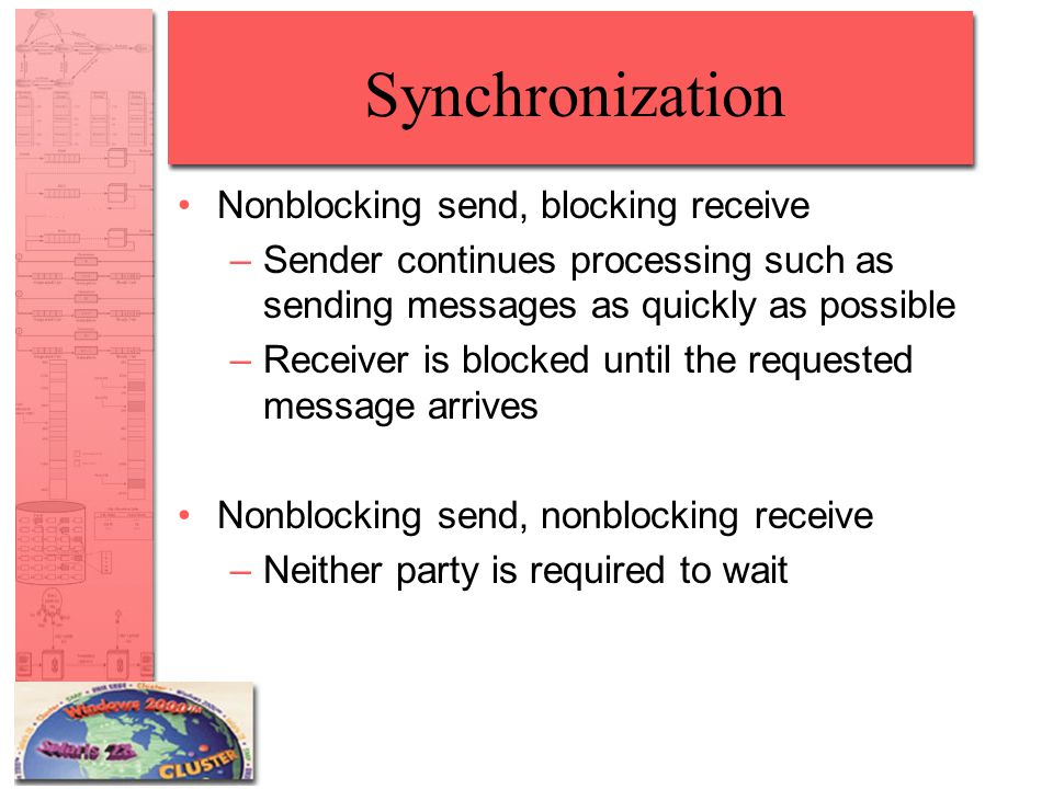 Synchronization Nonblocking send, blocking receive –Sender continues processing such as sending messages as quickly as possible –Receiver is blocked until the requested message arrives Nonblocking send, nonblocking receive –Neither party is required to wait