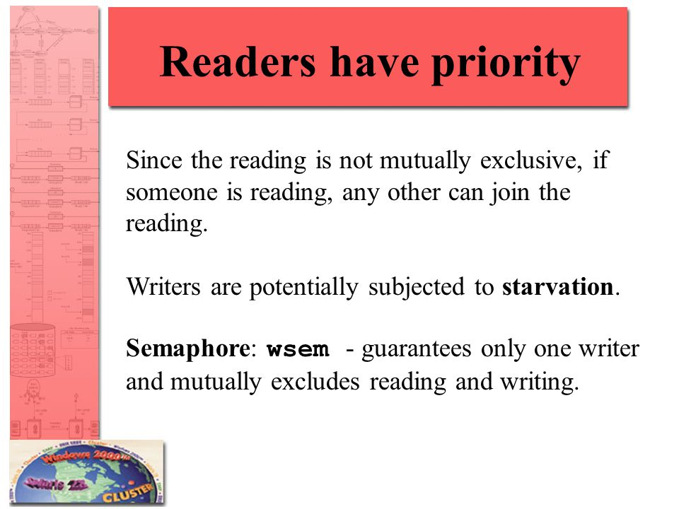 Readers have priority Since the reading is not mutually exclusive, if someone is reading, any other can join the reading.