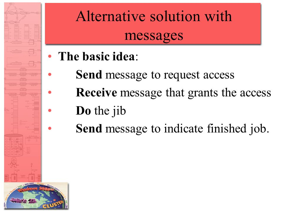 Alternative solution with messages The basic idea: Send message to request access Receive message that grants the access Do the jib Send message to indicate finished job.