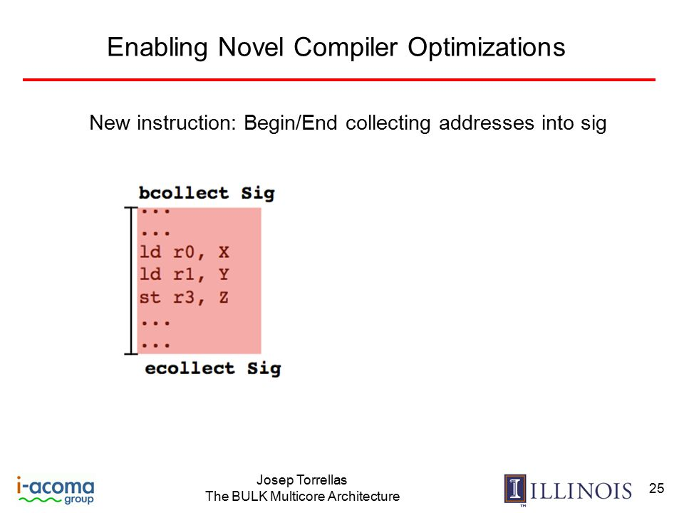 Josep Torrellas The BULK Multicore Architecture 25 Enabling Novel Compiler Optimizations New instruction: Begin/End collecting addresses into sig