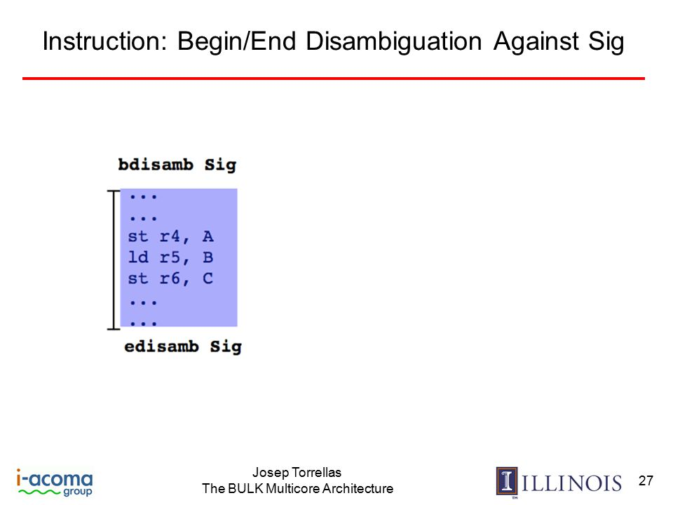 Josep Torrellas The BULK Multicore Architecture 27 Instruction: Begin/End Disambiguation Against Sig