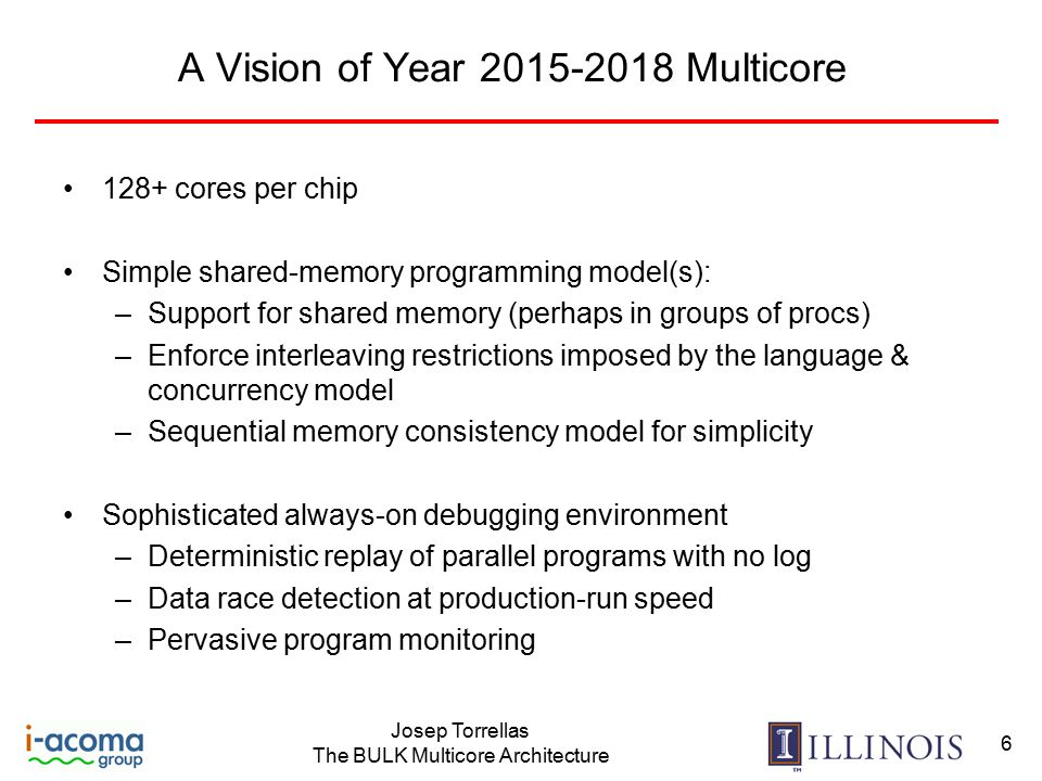 Josep Torrellas The BULK Multicore Architecture 6 A Vision of Year 2015-2018 Multicore 128+ cores per chip Simple shared-memory programming model(s): –Support for shared memory (perhaps in groups of procs) –Enforce interleaving restrictions imposed by the language & concurrency model –Sequential memory consistency model for simplicity Sophisticated always-on debugging environment –Deterministic replay of parallel programs with no log –Data race detection at production-run speed –Pervasive program monitoring
