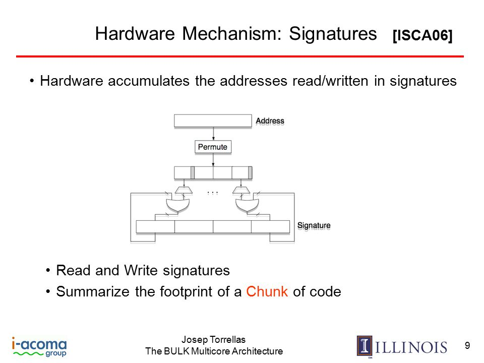 Josep Torrellas The BULK Multicore Architecture 9 Hardware Mechanism: Signatures Hardware accumulates the addresses read/written in signatures Read and Write signatures Summarize the footprint of a Chunk of code [ISCA06]