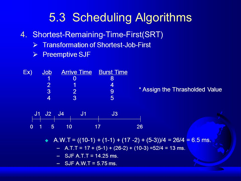 5.3 Scheduling Algorithms 4.Shortest-Remaining-Time-First(SRT)  Transformation of Shortest-Job-First  Preemptive SJF u A.W.T = ((10-1) + (1-1) + (17 -2) + (5-3))/4 = 26/4 = 6.5 ms.