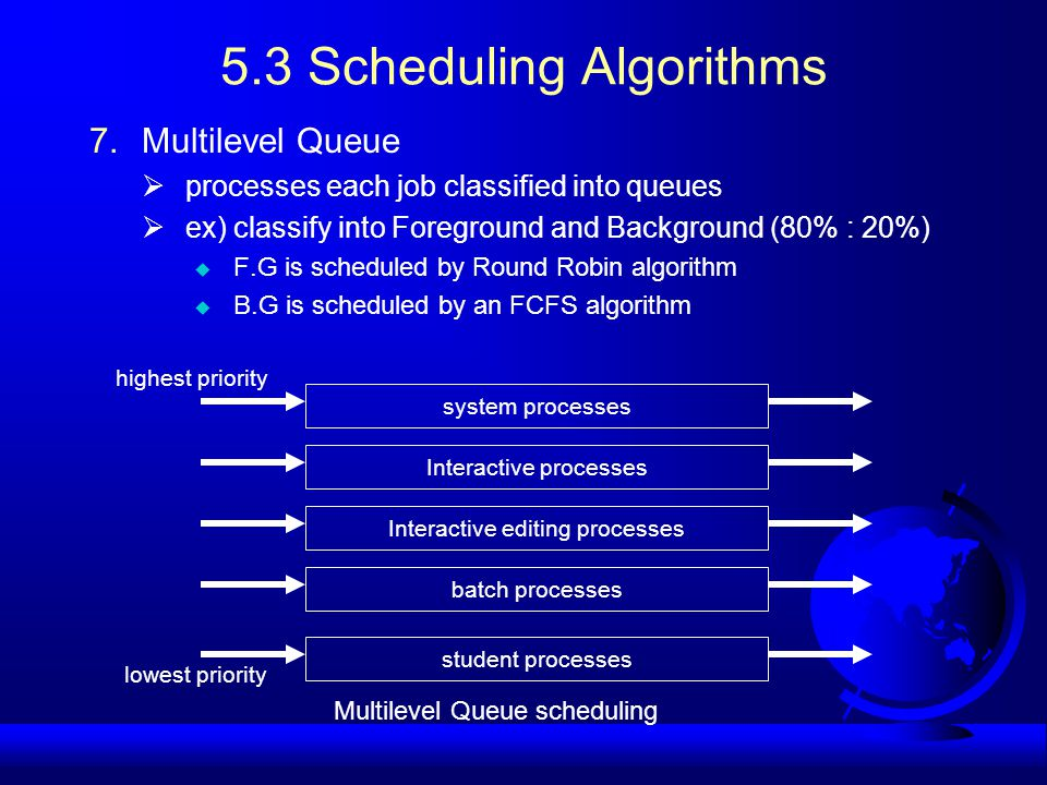 5.3 Scheduling Algorithms 7.Multilevel Queue  processes each job classified into queues  ex) classify into Foreground and Background (80% : 20%) u F.G is scheduled by Round Robin algorithm u B.G is scheduled by an FCFS algorithm system processes Interactive processes Interactive editing processes batch processes student processes highest priority lowest priority Multilevel Queue scheduling