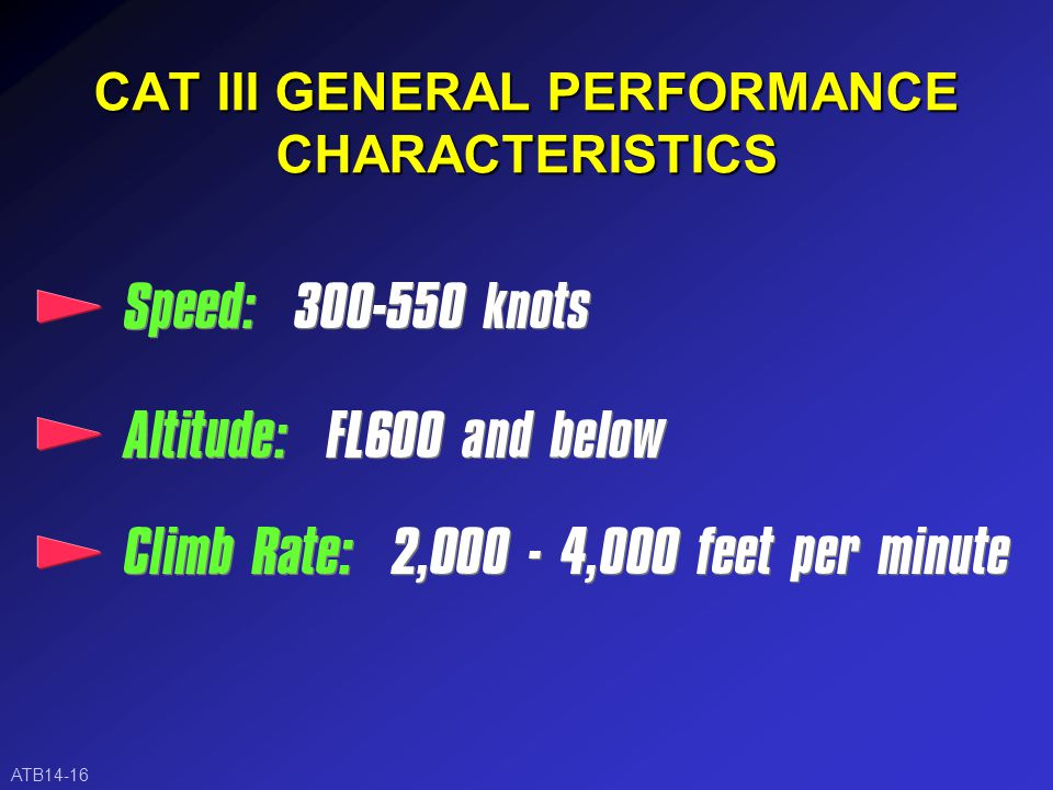 CAT II GENERAL PERFORMANCE CHARACTERISTICS ATB14-15
