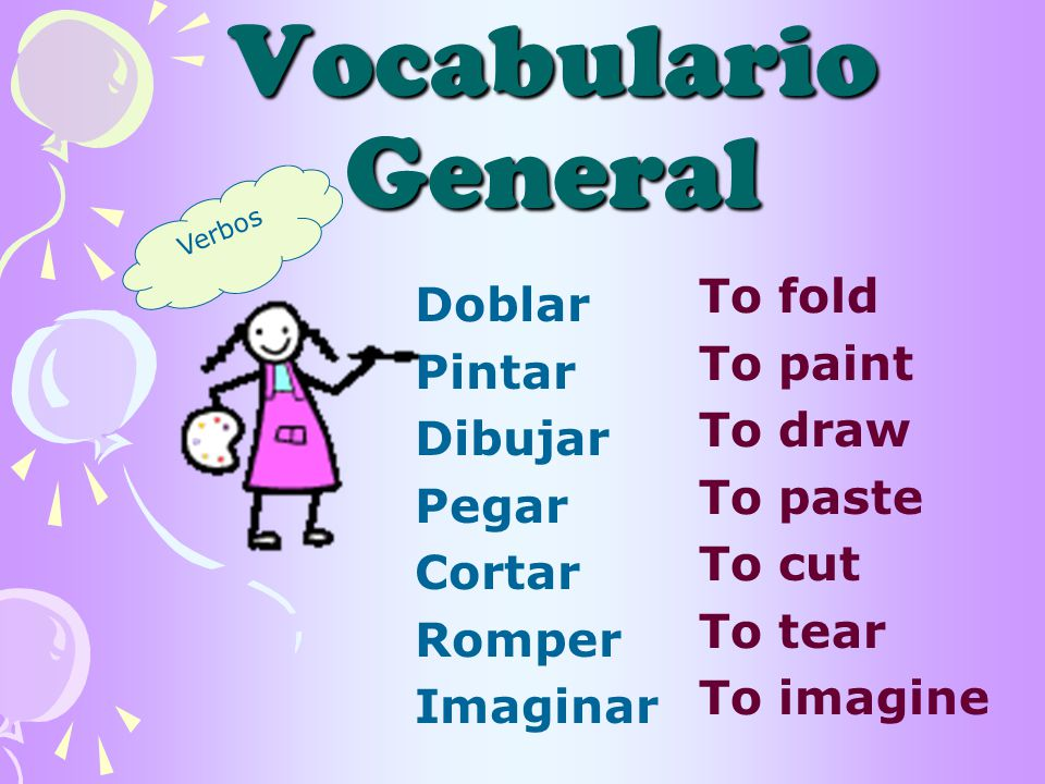 Vocabulario General Doblar Pintar Dibujar Pegar Cortar Romper Imaginar To fold To paint To draw To paste To cut To tear To imagine Verbos