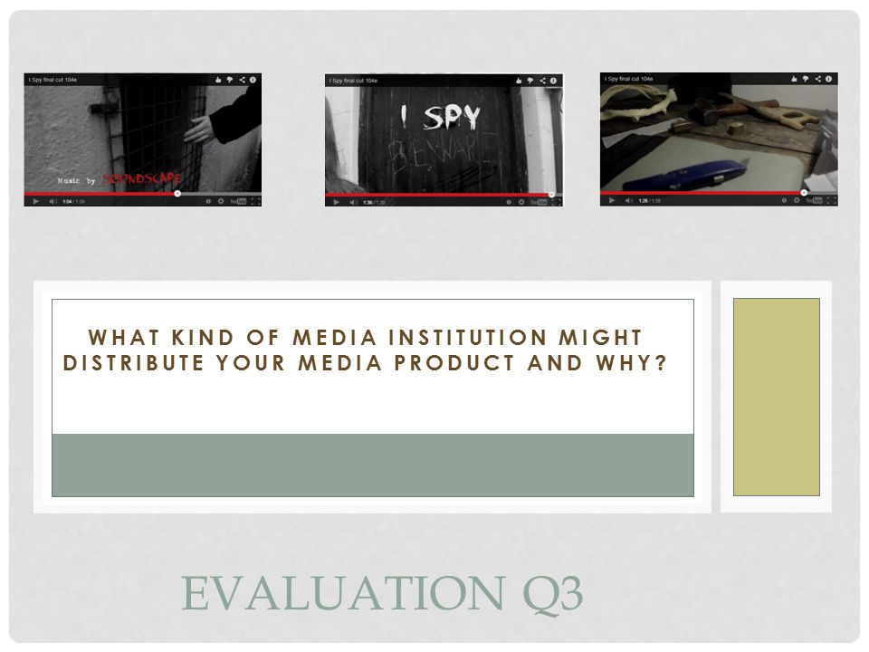 WHAT KIND OF MEDIA INSTITUTION MIGHT DISTRIBUTE YOUR MEDIA PRODUCT AND WHY EVALUATION Q3