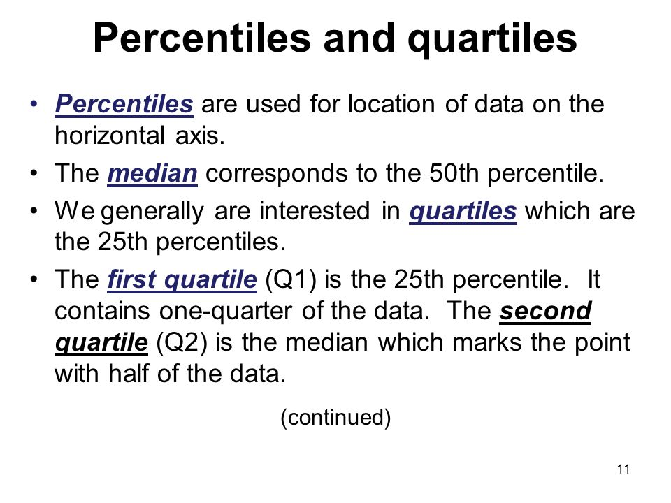 Percentiles and quartiles Percentiles are used for location of data on the horizontal axis.
