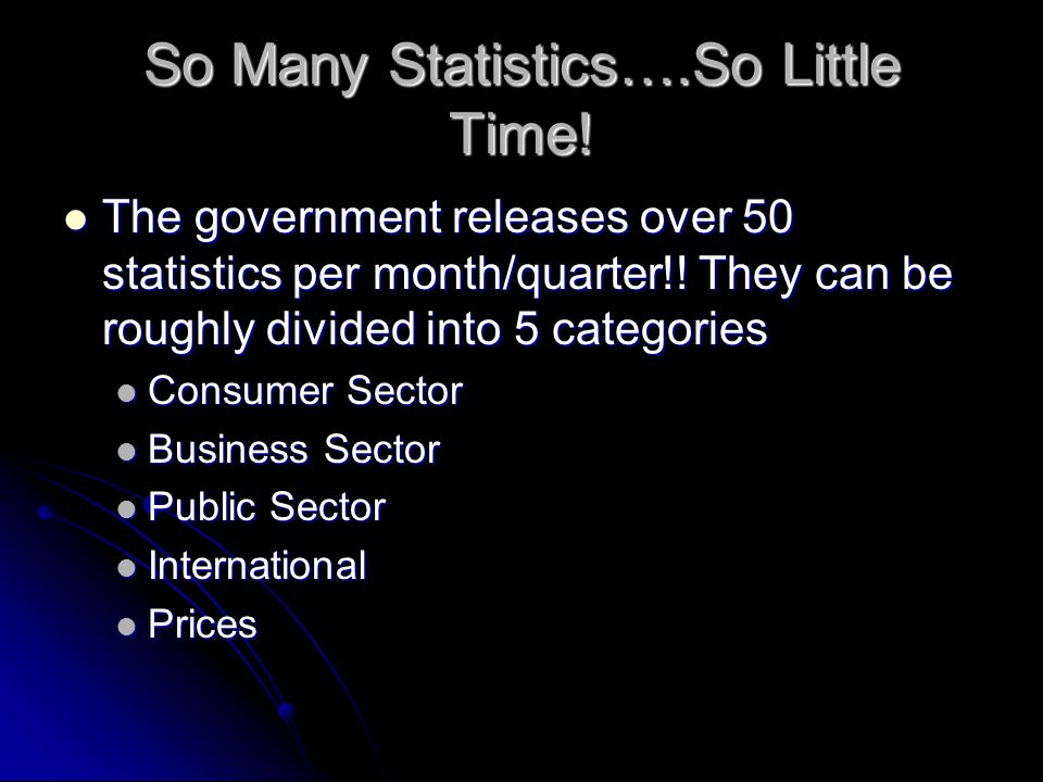 So Many Statistics….So Little Time. The government releases over 50 statistics per month/quarter!.