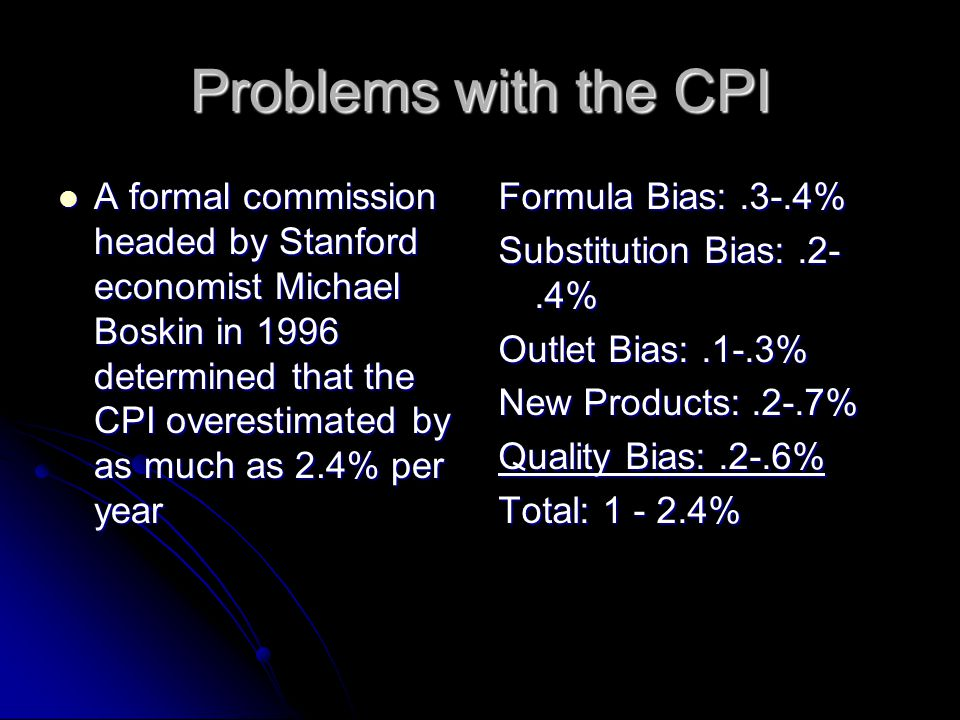 Problems with the CPI A formal commission headed by Stanford economist Michael Boskin in 1996 determined that the CPI overestimated by as much as 2.4% per year A formal commission headed by Stanford economist Michael Boskin in 1996 determined that the CPI overestimated by as much as 2.4% per year Formula Bias:.3-.4% Substitution Bias:.2-.4% Outlet Bias:.1-.3% New Products:.2-.7% Quality Bias:.2-.6% Total: %