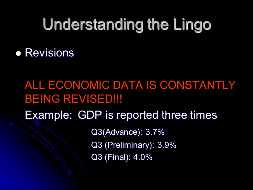 Understanding the Lingo Revisions Revisions ALL ECONOMIC DATA IS CONSTANTLY BEING REVISED!!.