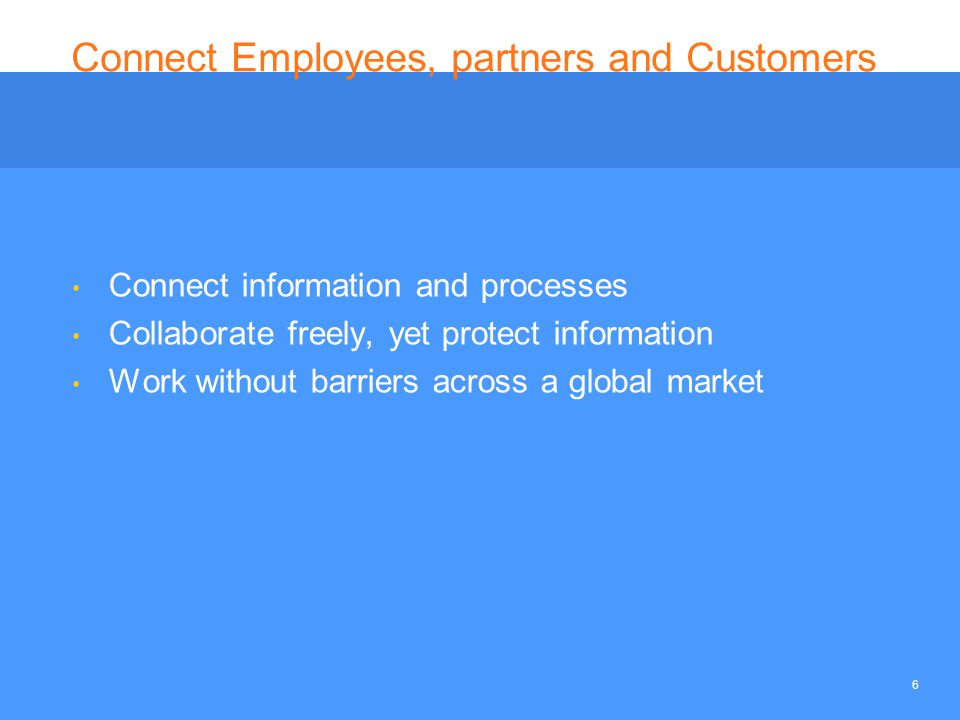 6 Connect Employees, partners and Customers Connect information and processes Collaborate freely, yet protect information Work without barriers across a global market