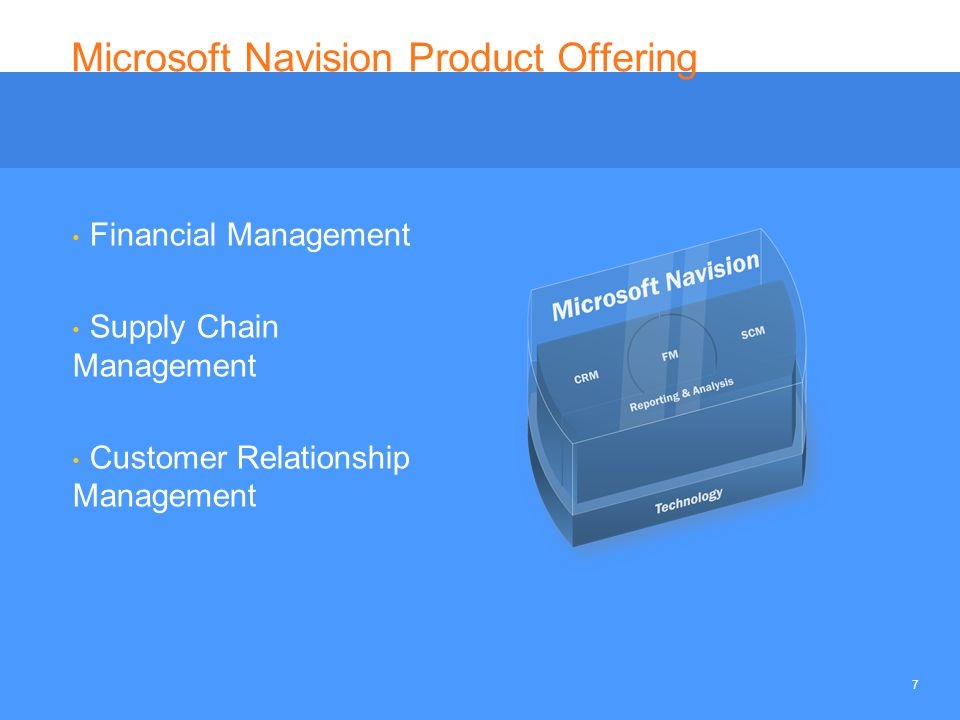 7 Microsoft Navision Product Offering Financial Management Supply Chain Management Customer Relationship Management