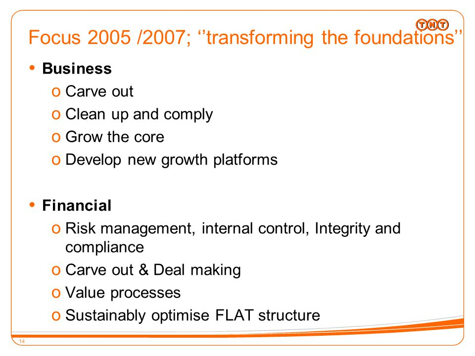 14 Focus 2005 /2007; ''transforming the foundations''  Business o Carve out o Clean up and comply o Grow the core o Develop new growth platforms  Financial o Risk management, internal control, Integrity and compliance o Carve out & Deal making o Value processes o Sustainably optimise FLAT structure