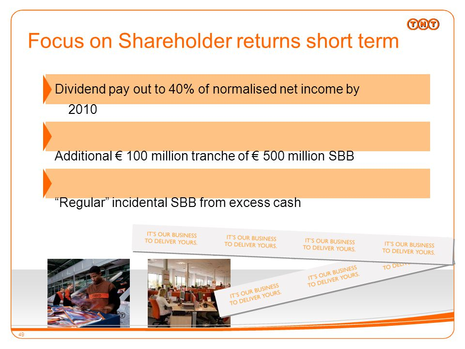 49 Dividend pay out to 40% of normalised net income by 2010 Additional € 100 million tranche of € 500 million SBB Regular incidental SBB from excess cash 49 Focus on Shareholder returns short term