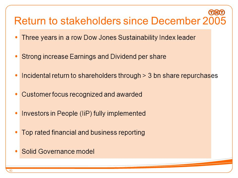 50 Return to stakeholders since December 2005  Three years in a row Dow Jones Sustainability Index leader  Strong increase Earnings and Dividend per share  Incidental return to shareholders through > 3 bn share repurchases  Customer focus recognized and awarded  Investors in People (IiP) fully implemented  Top rated financial and business reporting  Solid Governance model