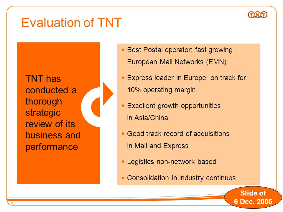 6 TNT has conducted a thorough strategic review of its business and performance  Best Postal operator; fast growing European Mail Networks (EMN)  Express leader in Europe, on track for 10% operating margin  Excellent growth opportunities in Asia/China  Good track record of acquisitions in Mail and Express  Logistics non-network based  Consolidation in industry continues Evaluation of TNT Slide of 6 Dec.
