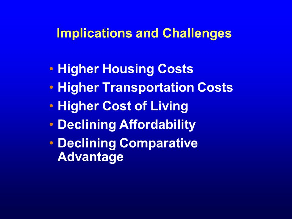 Implications and Challenges Higher Housing Costs Higher Transportation Costs Higher Cost of Living Declining Affordability Declining Comparative Advantage
