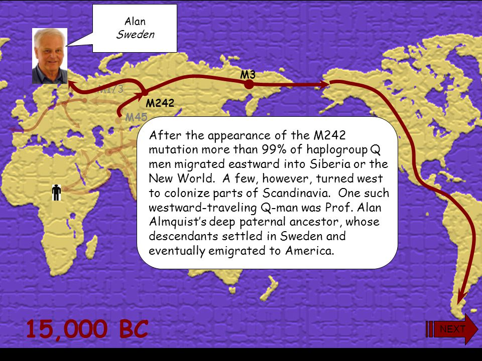 15,000 BC M173 M45 M242 M3 Toward the eastern end of haplogroup Q's range in Siberia a later mutation (M3) occurred to produce the subclade called Q3.