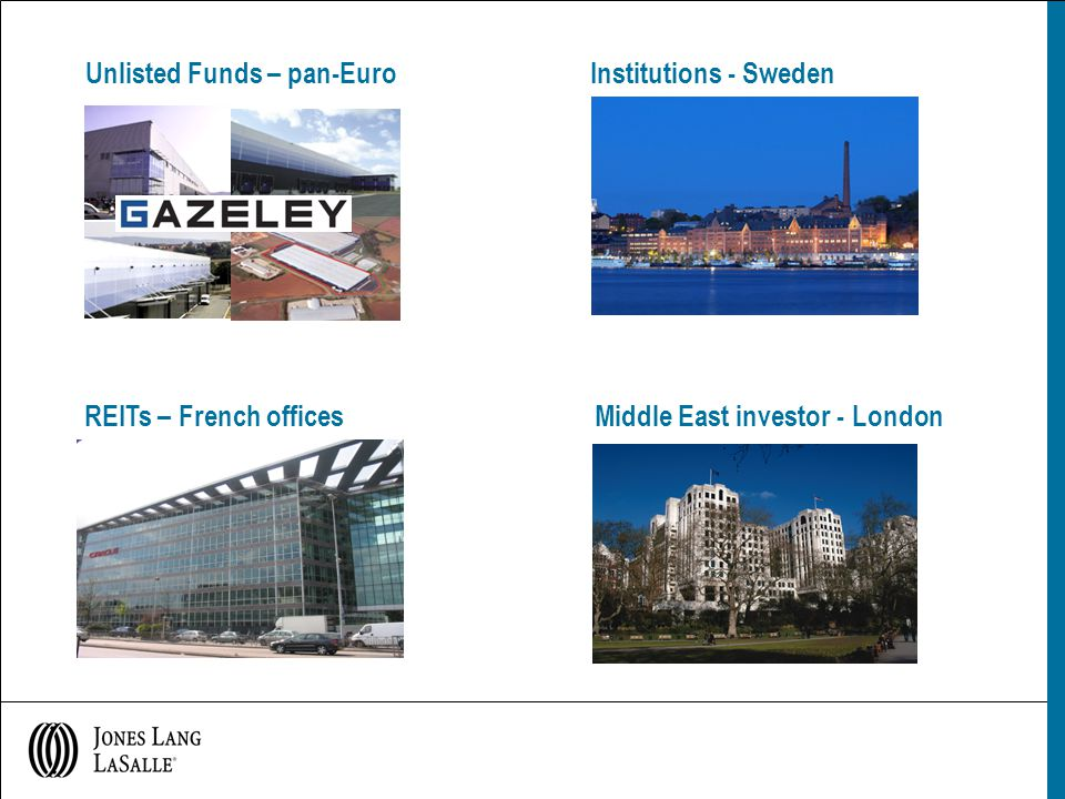 Unlisted Funds – pan-Euro Institutions - Sweden REITs – French offices Middle East investor - London