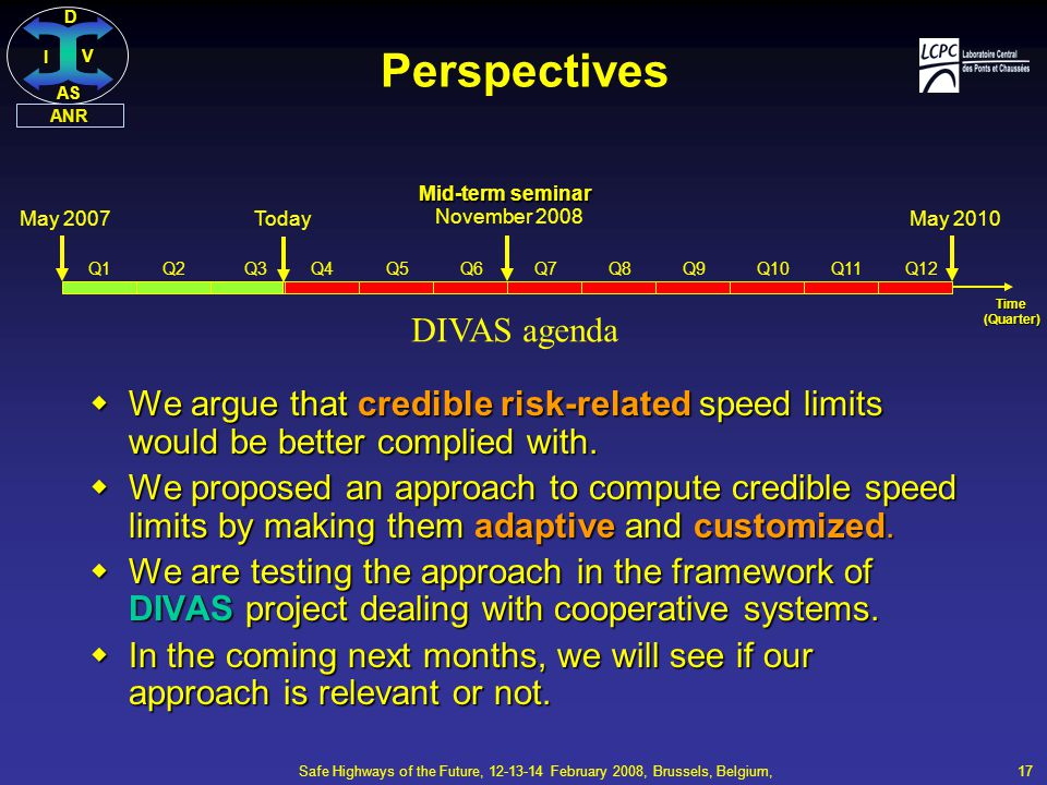 DI V AS ANR Safe Highways of the Future, 12-13-14 February 2008, Brussels, Belgium, 17 Perspectives  We argue that credible risk-related speed limits would be better complied with.