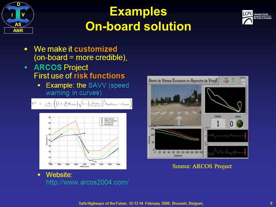 DI V AS ANR Safe Highways of the Future, 12-13-14 February 2008, Brussels, Belgium, 9 Examples On-board solution  We make it customized (on-board = more credible),  ARCOS Project First use of risk functions  Example: the SAVV (speed warning in curves)  Website: http://www.arcos2004.com/ Source: ARCOS Project