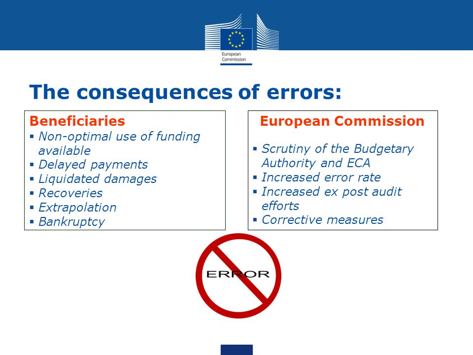 The consequences of errors: Beneficiaries  Non-optimal use of funding available  Delayed payments  Liquidated damages  Recoveries  Extrapolation  Bankruptcy European Commission  Scrutiny of the Budgetary Authority and ECA  Increased error rate  Increased ex post audit efforts  Corrective measures