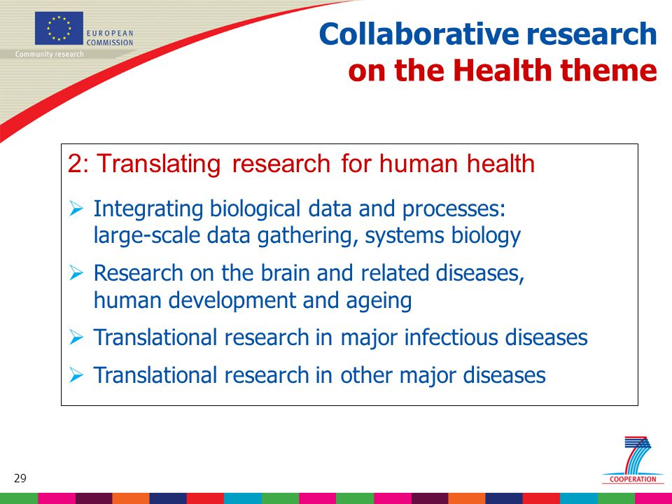 29 Based on proposed draft work programme prior to final consultations Collaborative research on the Health theme 2: Translating research for human health  Integrating biological data and processes: large-scale data gathering, systems biology  Research on the brain and related diseases, human development and ageing  Translational research in major infectious diseases  Translational research in other major diseases