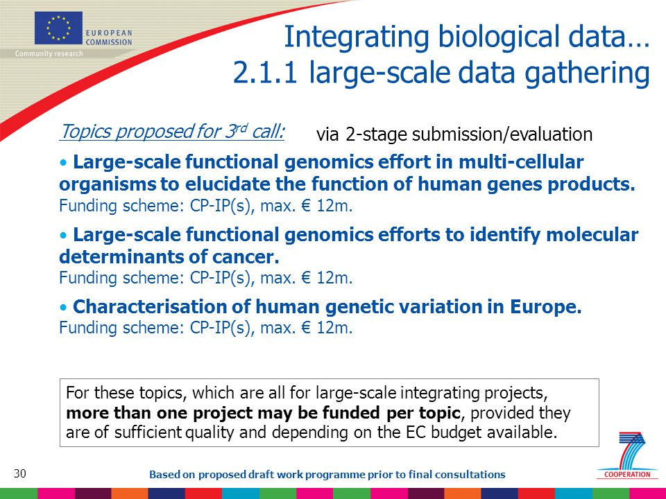 30 Based on proposed draft work programme prior to final consultations Integrating biological data… 2.1.1 large-scale data gathering Topics proposed for 3 rd call: Large-scale functional genomics effort in multi-cellular organisms to elucidate the function of human genes products.