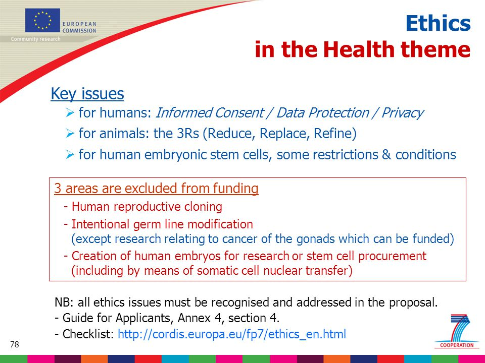 78 Based on proposed draft work programme prior to final consultations Ethics in the Health theme Key issues  for humans: Informed Consent / Data Protection / Privacy  for animals: the 3Rs (Reduce, Replace, Refine)  for human embryonic stem cells, some restrictions & conditions 3 areas are excluded from funding - Human reproductive cloning - Intentional germ line modification (except research relating to cancer of the gonads which can be funded) - Creation of human embryos for research or stem cell procurement (including by means of somatic cell nuclear transfer) NB: all ethics issues must be recognised and addressed in the proposal.