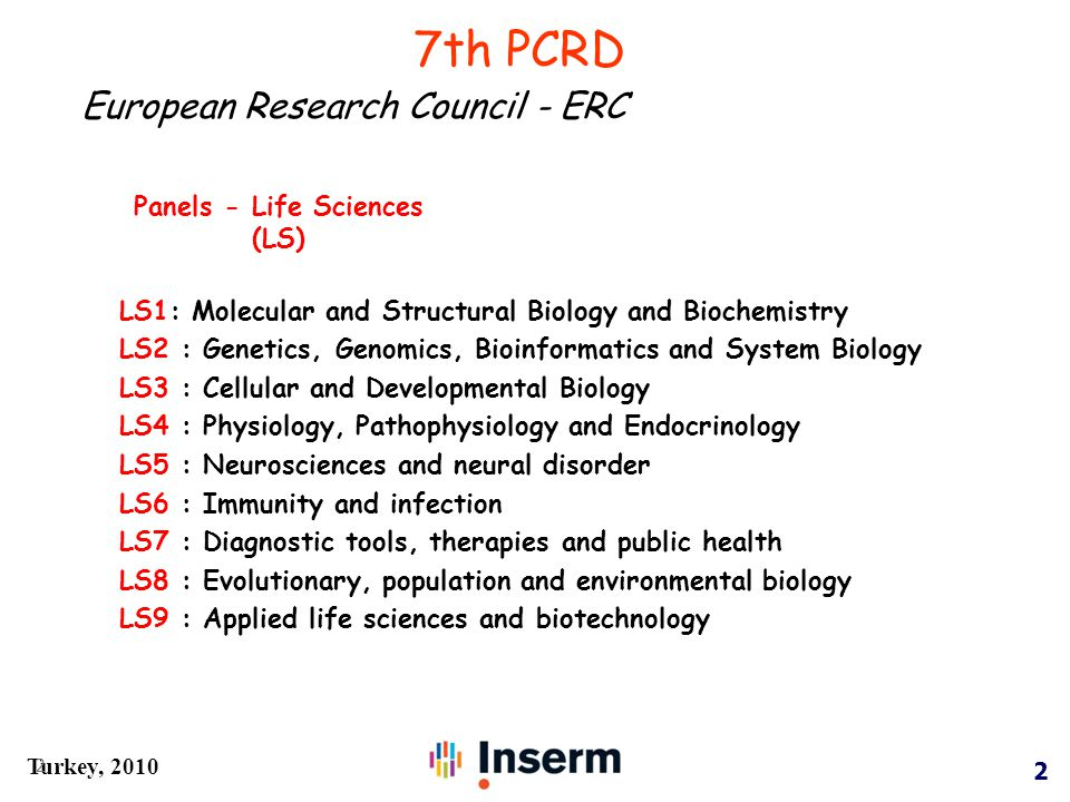 2 Turkey, 2010 2 LS1: Molecular and Structural Biology and Biochemistry LS2 : Genetics, Genomics, Bioinformatics and System Biology LS3 : Cellular and Developmental Biology LS4 : Physiology, Pathophysiology and Endocrinology LS5 : Neurosciences and neural disorder LS6 : Immunity and infection LS7 : Diagnostic tools, therapies and public health LS8 : Evolutionary, population and environmental biology LS9 : Applied life sciences and biotechnology Panels - Life Sciences (LS) 7th PCRD European Research Council - ERC
