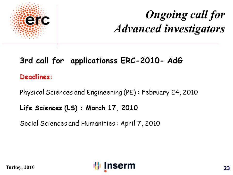 23 Turkey, 2010 3rd call for applicationss ERC-2010- AdG Deadlines: Physical Sciences and Engineering (PE) : February 24, 2010 Life Sciences (LS) : March 17, 2010 Social Sciences and Humanities : April 7, 2010 Ongoing call for Advanced investigators