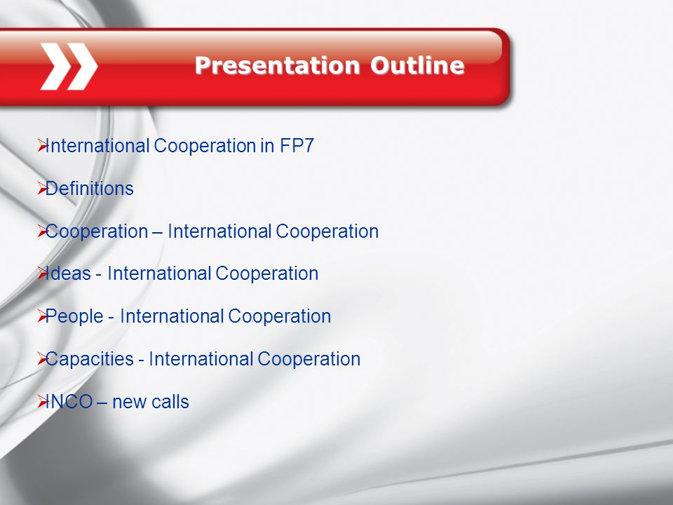 Presentation Outline  International Cooperation in FP7  Definitions  Cooperation – International Cooperation  Ideas - International Cooperation  People - International Cooperation  Capacities - International Cooperation  INCO – new calls