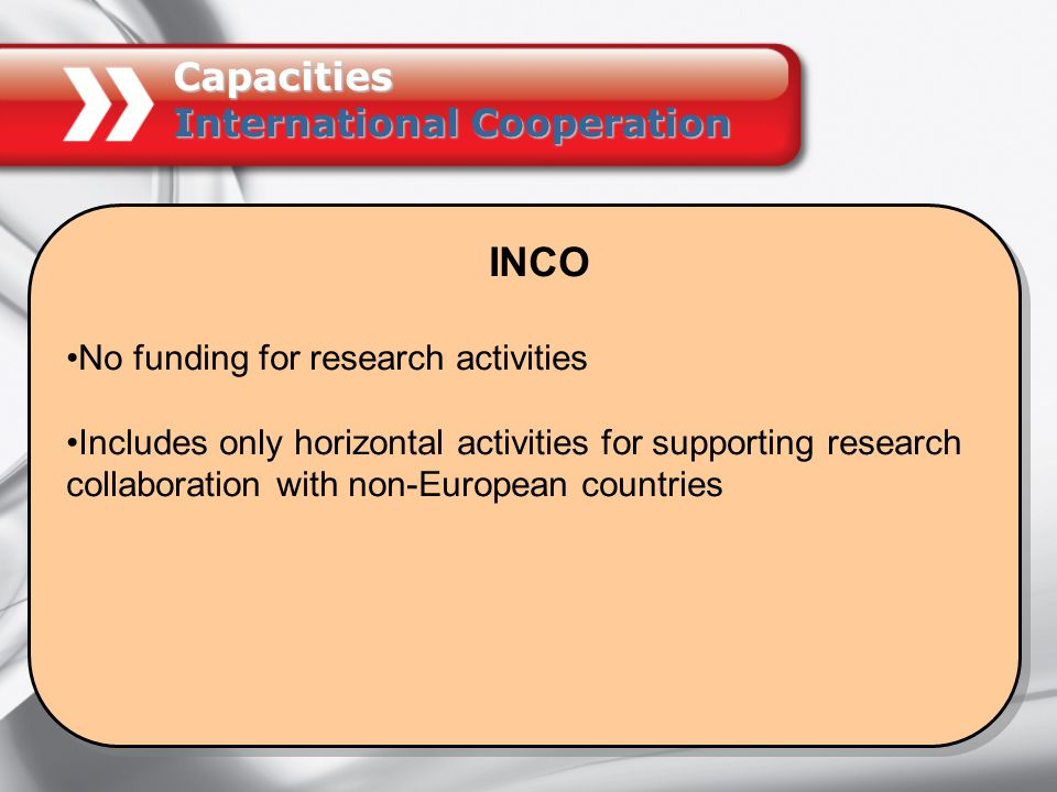 INCO No funding for research activities Includes only horizontal activities for supporting research collaboration with non-European countries INCO No funding for research activities Includes only horizontal activities for supporting research collaboration with non-European countries Capacities International Cooperation