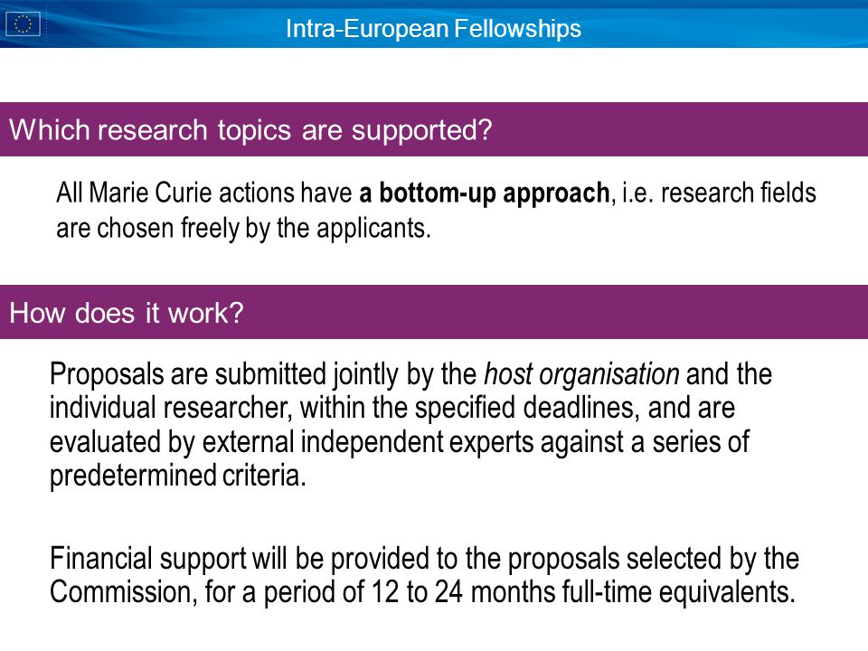Intra-European Fellowships Which research topics are supported.