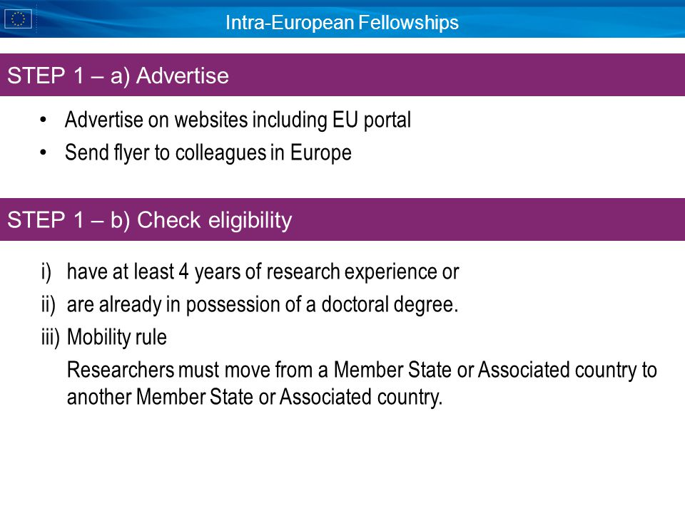 Intra-European Fellowships Advertise on websites including EU portal Send flyer to colleagues in Europe STEP 1 – a) Advertise STEP 1 – b) Check eligibility i)have at least 4 years of research experience or ii)are already in possession of a doctoral degree.