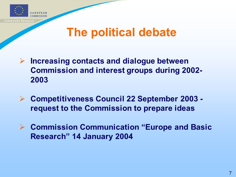 7   Increasing contacts and dialogue between Commission and interest groups during   Competitiveness Council 22 September request to the Commission to prepare ideas   Commission Communication Europe and Basic Research 14 January 2004 The political debate