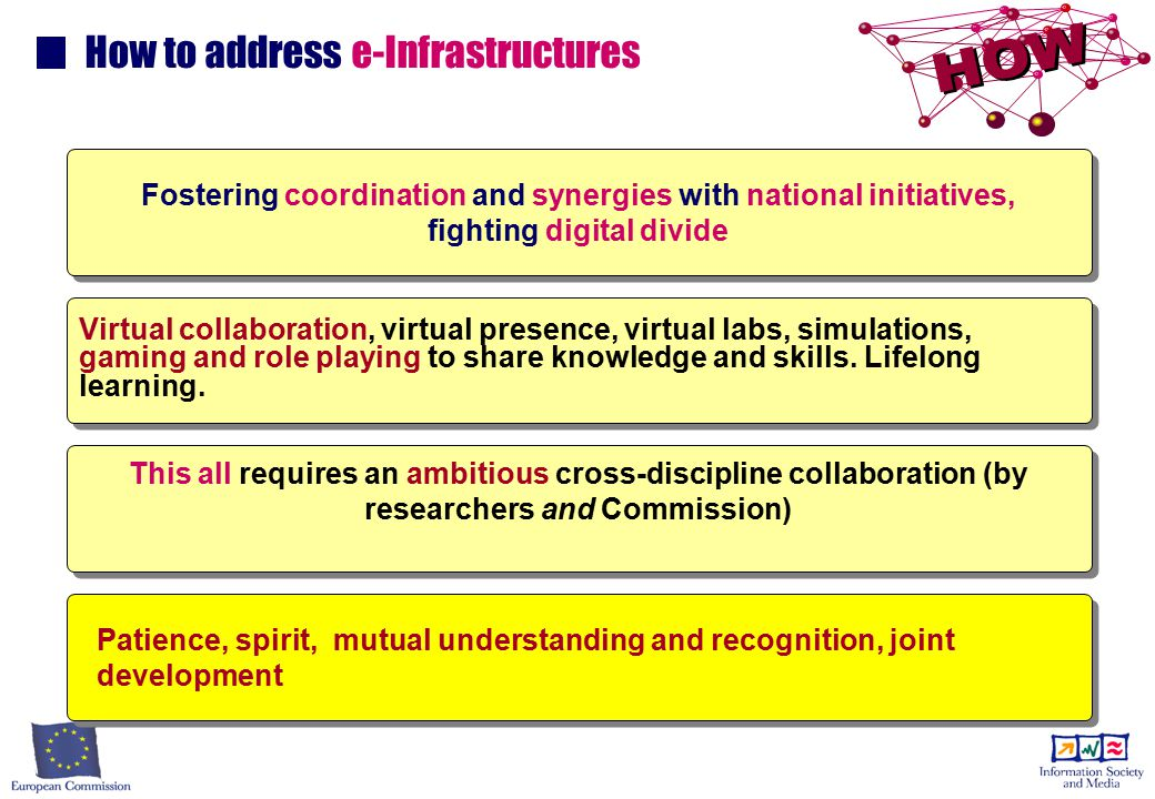 How to address e-Infrastructures Fostering coordination and synergies with national initiatives, fighting digital divide Virtual collaboration, virtual presence, virtual labs, simulations, gaming and role playing to share knowledge and skills.