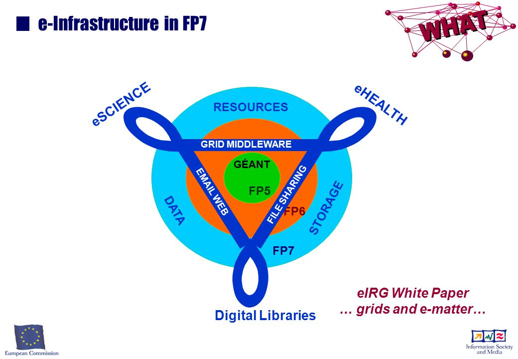 FP7 FP6 e-Infrastructure in FP7 GRID MIDDLEWARE eHEALTH eSCIENCE Digital Libraries RESOURCES STORAGE DATA FILE SHARING EMAIL WEB eIRG White Paper … grids and e-matter… INTERNET GÉANT FP5