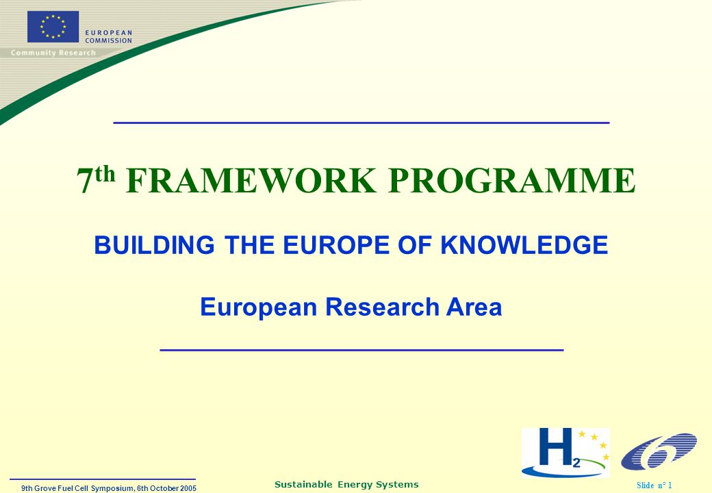 9th Grove Fuel Cell Symposium, 6th October 2005 Sustainable Energy Systems Slide n° 1 7 th FRAMEWORK PROGRAMME BUILDING THE EUROPE OF KNOWLEDGE European Research Area