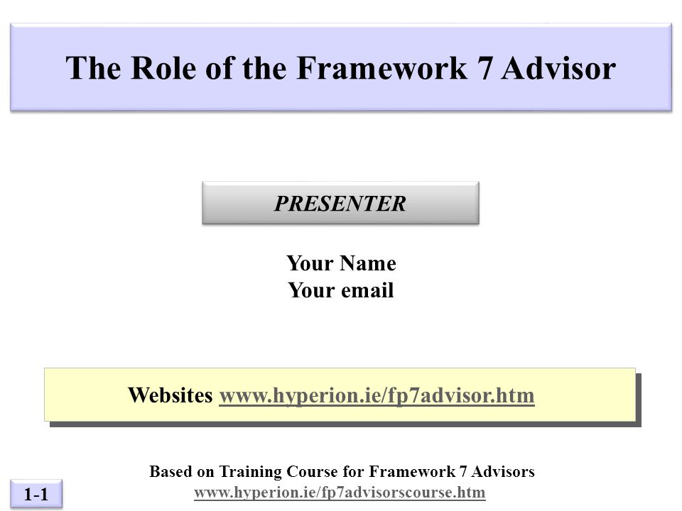 1-1 PRESENTER The Role of the Framework 7 Advisor Your Name Your  Websites   Websites   Based on Training Course for Framework 7 Advisors