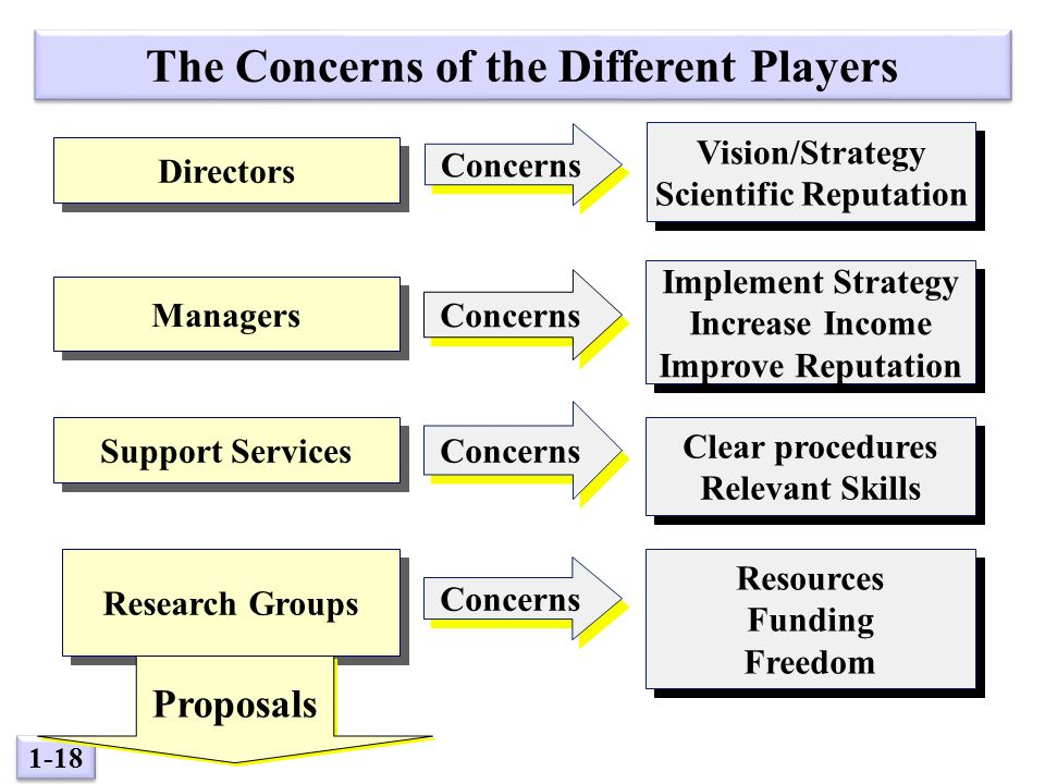 1-18 The Concerns of the Different Players Directors Managers Support Services Research Groups Proposals Concerns Implement Strategy Increase Income Improve Reputation Implement Strategy Increase Income Improve Reputation Concerns Vision/Strategy Scientific Reputation Vision/Strategy Scientific Reputation Concerns Clear procedures Relevant Skills Clear procedures Relevant Skills Concerns Resources Funding Freedom Resources Funding Freedom