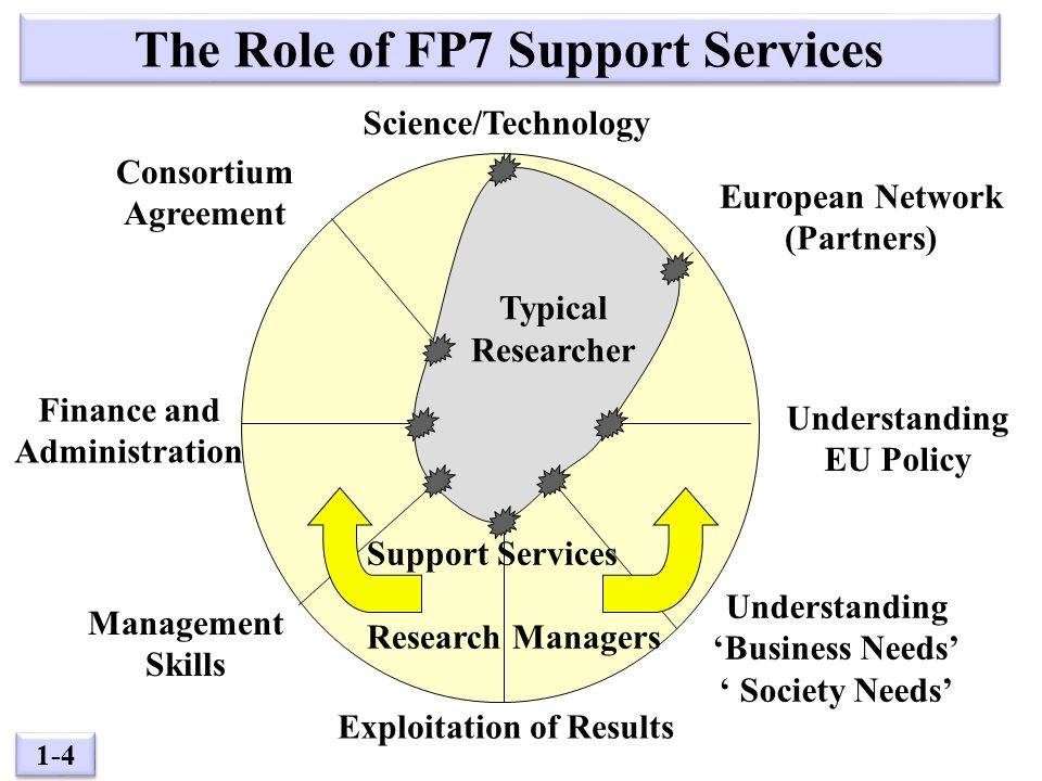 1-4 Typical Researcher The Role of FP7 Support Services Science/Technology European Network (Partners) Understanding EU Policy Understanding 'Business Needs' ' Society Needs' Exploitation of Results Management Skills Finance and Administration Consortium Agreement Support Services + Research Managers