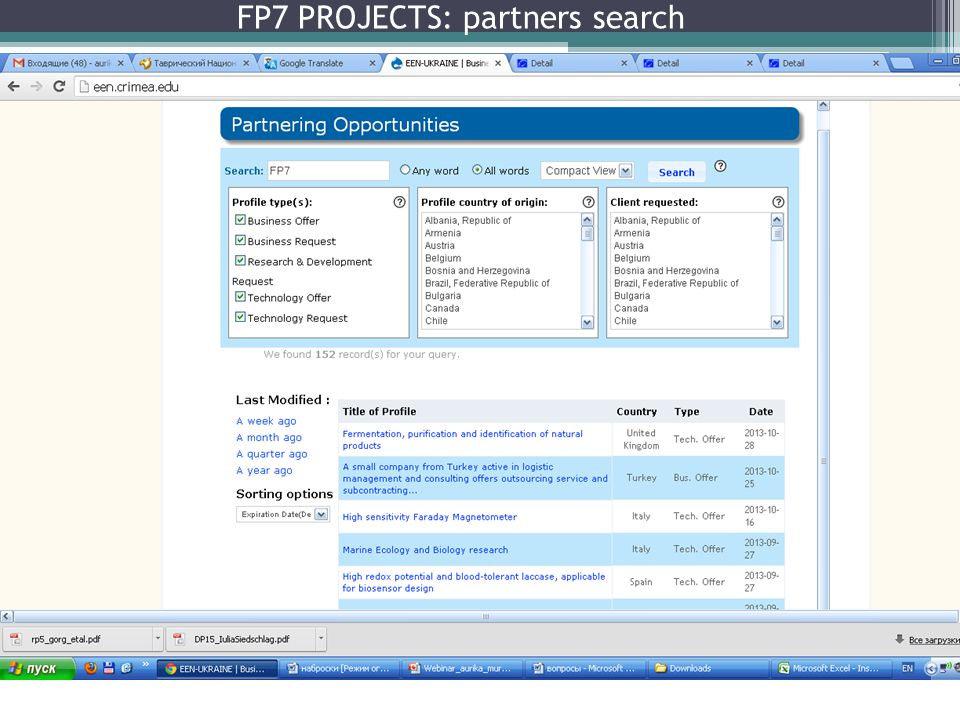 FP7 PROJECTS: partners search